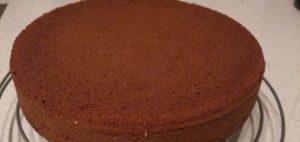 Шоколадный бисквит на остывании