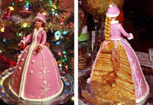 Праздничный торт с куклой