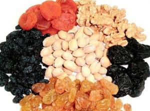 Ассортимент сухофруктов и орехов