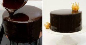 Процесс заливки кондитерского изделия глазурью