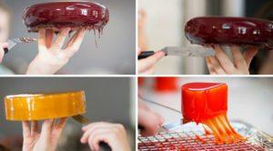 Подравнивание краешков застывшей глазури на десерте