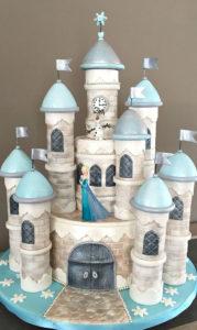 Сказочный торт Замок в голубом цвете мастики