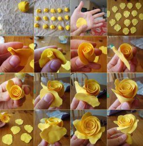 Пример из МК лепки мастичной розы