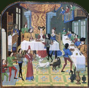 Миниатюра XV века: званый ужин