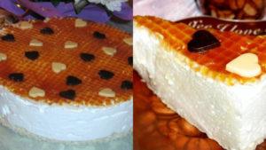 Готовый торт-суфле с вафельным основанием