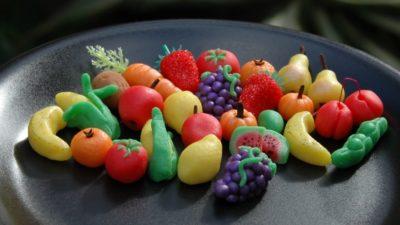 Фрукты, овощи из марципана для украшения торта