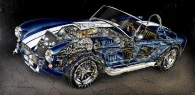 Классический автомобиль с иллюстрацией внутренних деталей