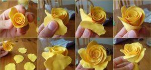 Пример выполнения розы из раскатанных отрезков мастичного теста