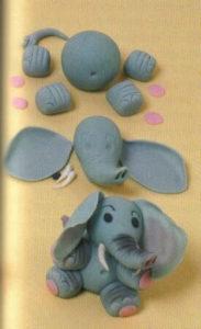 Пример лепки мастичного слоника по деталям