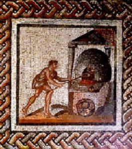 Древняя мозаика приготовления хлеба в печи