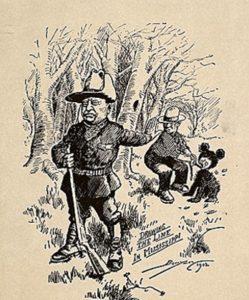 Карикатура на президента Теодора Рузвельта во время охоты на медведя