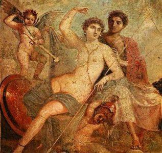 Древняя фреска : богиня Афродита (Венера)