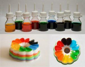 Водорастворимые жидкие пищевые красители и окрашенный желейный десерт